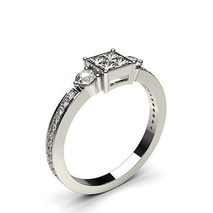 Prong & Invisible Setting Cluster Diamond Ring
