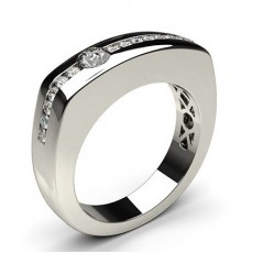 Semi Bezel Setting Round Diamond Mens Ring - CLRN515_01