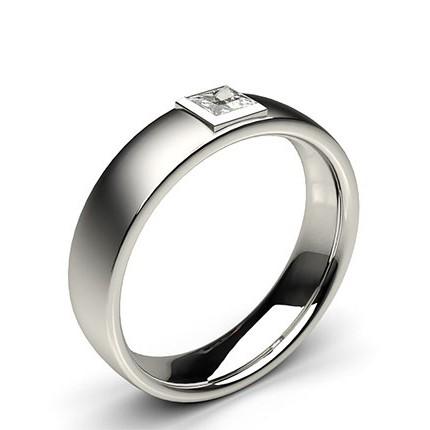 Full Bezel Setting Princess Diamond Mens Ring