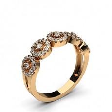 Round Rose Gold Diamond Half Eternity Rings