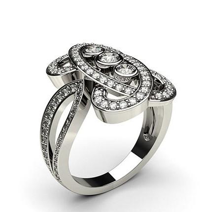 Bague fantaisie diamant rond serti clos et pavé en 0.10ct