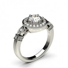 White Gold Vintage Diamond Engagement Ring - CLRN564_02