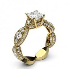Yellow Gold Princess Vintage Diamond Engagement Ring - CLRN564_05