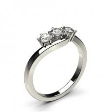 Bague 3 pierres diamant rond serti 4 griffes