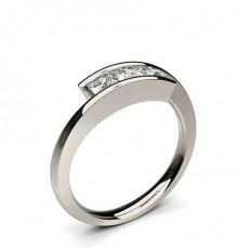 Channel Setting Princess Diamond Plain Three Stone Ring in Platinum