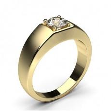 Rond Or Jaune Bague Homme Bague Diamant