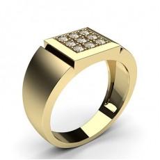 Round Yellow Gold Men's Diamond Rings