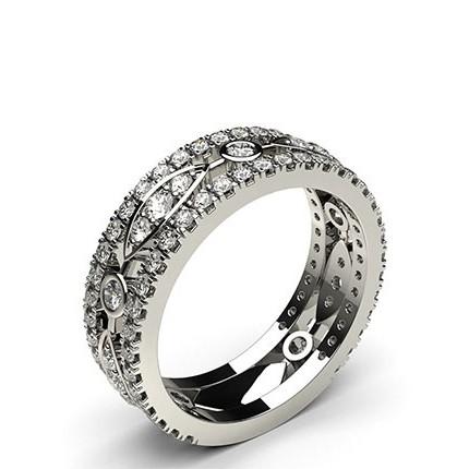 Moderner Diamant Ring Rund in einer 4 Krappen und Pavefassung