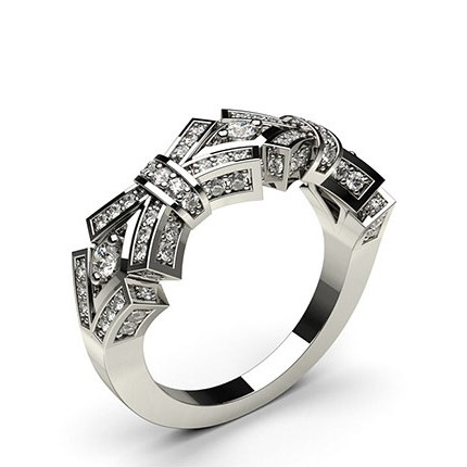 2 Prong & Pave Setting Round Diamond Fashion Ring