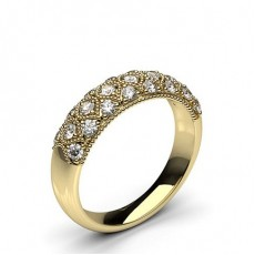 Round Yellow Gold Diamond Half Eternity Rings
