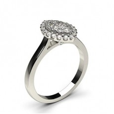 Round Diamond Engagement Cluster Rings