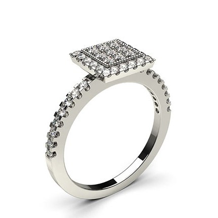 4 Prong & Pave Setting Round Diamond Cluster Ring