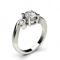 4 Prong & Semi Bezel Setting Plain Three stone Ring - CLRN603_01