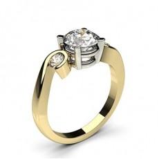 4 Prong & Semi Bezel Setting Plain Three stone Ring - CLRN603_01