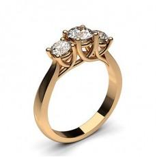 Round Rose Gold Diamond Rings Three Stone