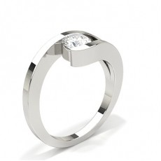 Channel Setting Round Diamond Plain Engagement Ring - CLRN664_01