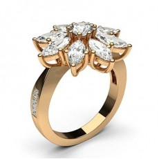 Mixed Shapes Rose Gold Statement Diamond Rings