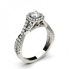 Cushion Platinum Halo Engagement Rings