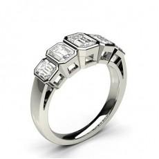 Or Blanc 5 Pierres Bague Diamant