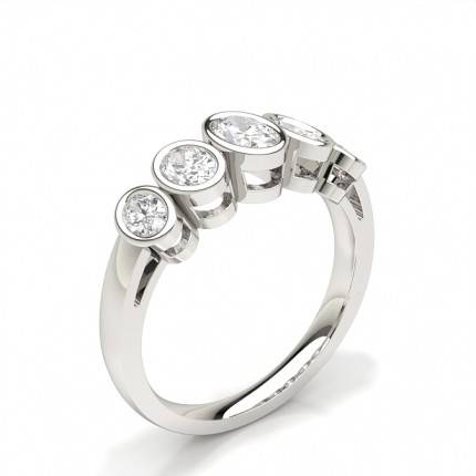 Full Bezel Setting Plain Five Stone Ring