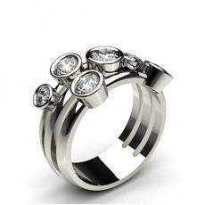 Bezel Setting Plain Seven Stone Ring
