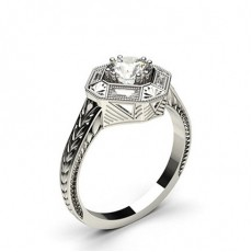 Double Prong Setting Studded Engagement Ring - CLRN768_01