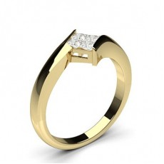 Princess Yellow Gold Diamond Cluster Rings