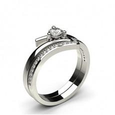 Bague de fiançaille diamant rond serti 3 griffes et pavé avec alliance accordée - HG0606_13