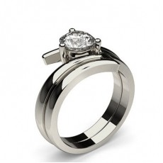 3 Prong Setting Plain Engagement Ring With Matching Band - CLRN812_02