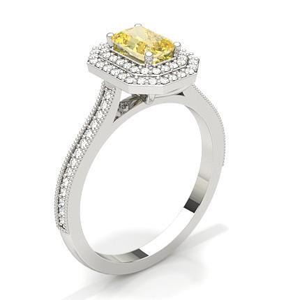 Bague de fiançaille halo épaulée diamant jaune emeraude