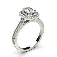 White Gold Halo Diamond Engagement Ring - CLRN817_01