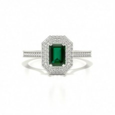 Emerald White Gold Gemstone Diamond Engagement Rings