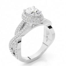White Gold Pear Diamond Engagement Ring - CLRN820_01