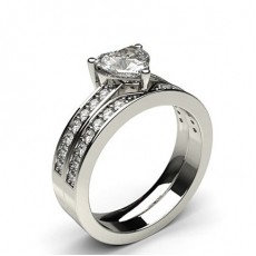 3 Prong Setting Studded Engagement Ring With Matching Band