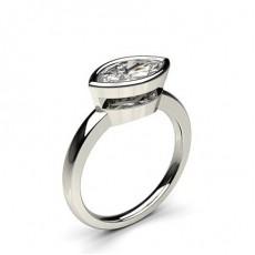 Full Bezel Setting Marquise Diamond Plain Engagement Ring - CLRN849_01