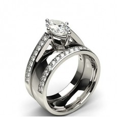 Marquise Platinum Bridal Diamond Engagement and Wedding Bands Ring Sets