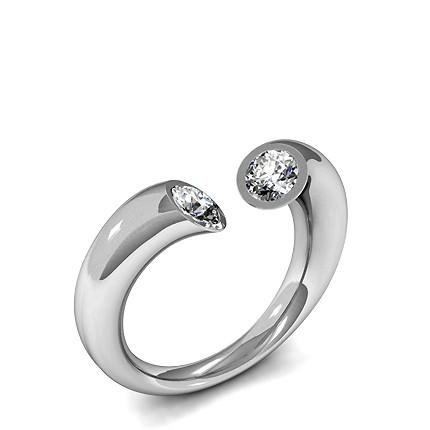Tension Setting Plain Two Stone Ring