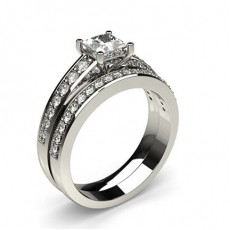 4 Prong Setting Studded Engagement Ring With Matching Band - CLRN908_01