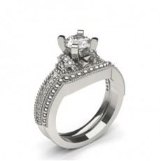 4 Prong Setting Studded Engagement Ring With Matching Band (Available in 0.50ct.)