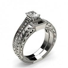 White Gold Oval Bridal Set Diamond Engagement Ring