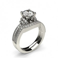 4 Prong Setting Studded Engagement Ring With Matching Band (Available from 0.60ct. to 1.10ct.)