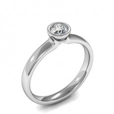 Full Bezel Setting Round Diamond Plain Engagement Ring - CLRN936_01