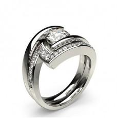 White Gold Bridal Set Diamond Engagement Ring - CLRN938_01