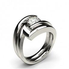 White Gold Bridal Set Diamond Engagement Ring - CLRN938_02