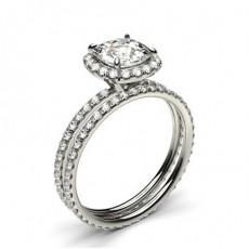White Gold Cushion Bridal Set Diamond Engagement Ring - CLRN941_01