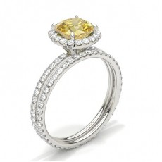 4 Prong Yellow Diamond Halo Bridal Set