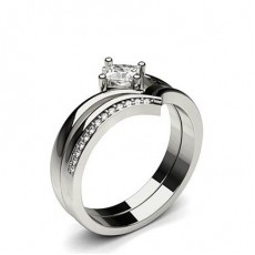 4 Prong Setting Plain Engagement Ring With Matching Band - CLRN942_01