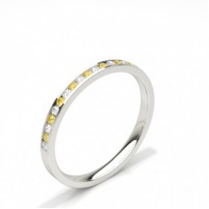 Alliance demi tour diamant jaune/blanc rond