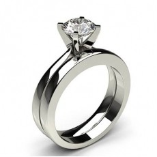 4 Prong Setting Plain Engagement Ring With Matching Band - CLRN984_03