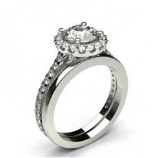 4 Prong Setting Studded Engagement Ring With Matching Band - CLRN986_03